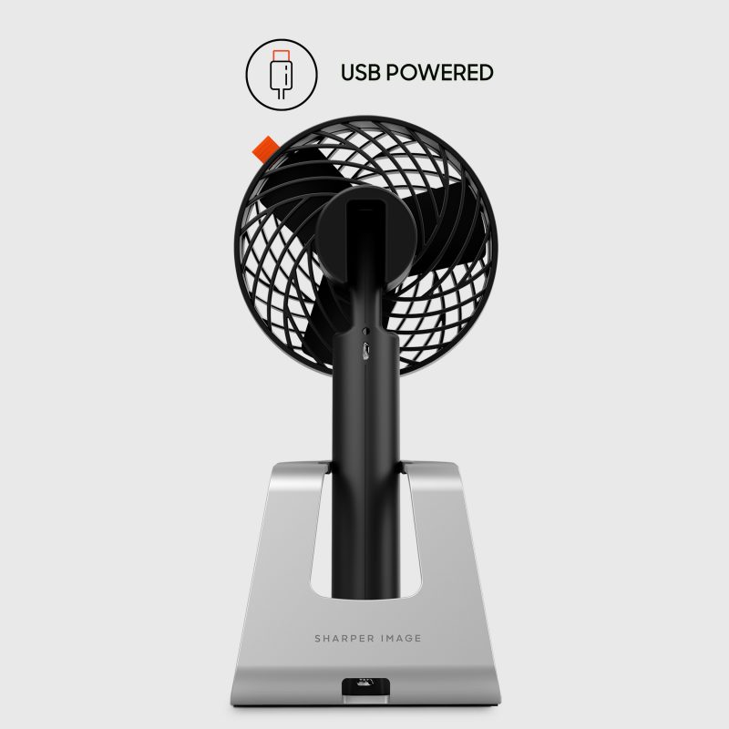 Sharper Image GO 4C Rechargeable Handheld Fan with Charging Stand USB Powered