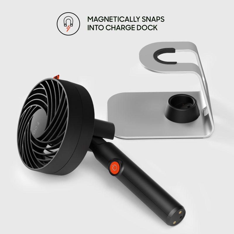 Sharper Image GO 4C Rechargeable Handheld Fan with Charging Stand