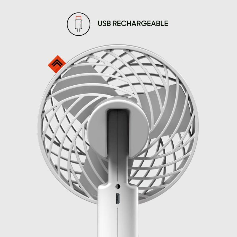 Sharper Image GO 4 Rechargeable Handheld Fan White Back