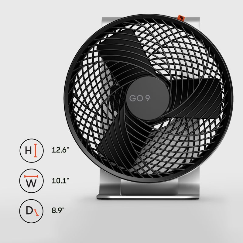Sharper Image GO 9 Rechargeable Fan with Stand Dimensions