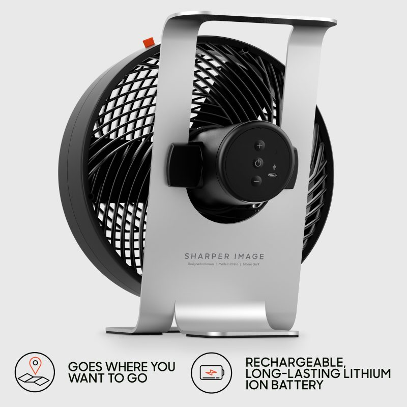 Sharper Image GO 9 Rechargeable Fan with Stand Features